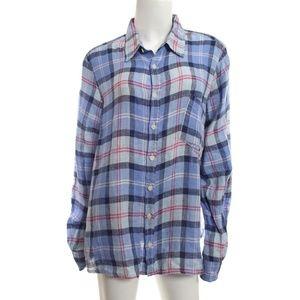 CP Shades Blue Plaid 100% Linen Jay Shirt